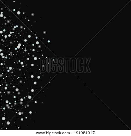 Beautiful Falling Snow. Left Semicircle With Beautiful Falling Snow On Black Background. Vector Illu