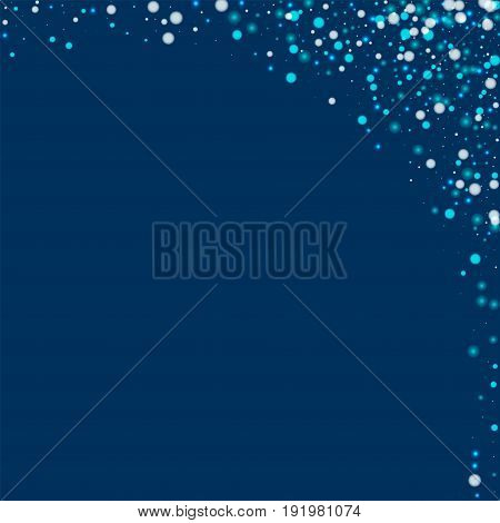 Beautiful Falling Snow. Abstract Right Top Corner With Beautiful Falling Snow On Deep Blue Backgroun