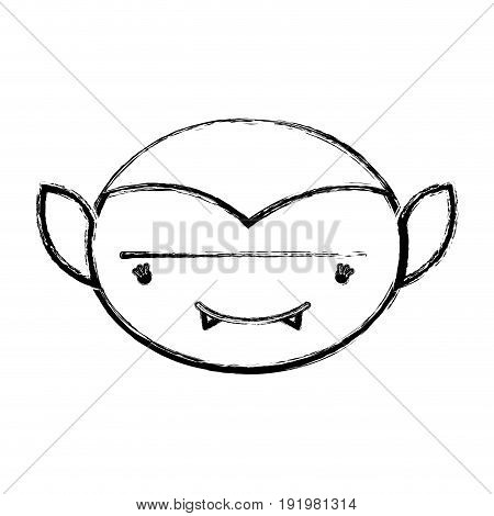 figure man face vampiere with fangs vector illustration