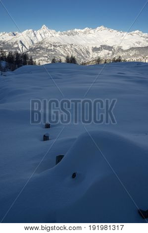 landscape from rothwald during winter in switzerland