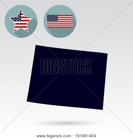 U.S. state on the U.S. map Wyoming on a white background. American flag star