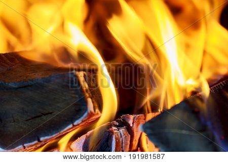 Three Burning Billets In Hot Stove