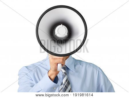 Business one man talking businessman megaphone obscure face