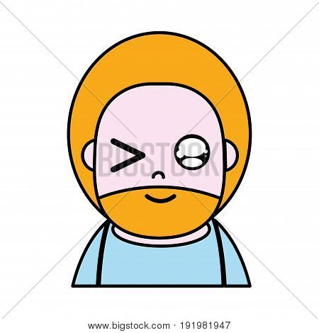funny man with beard and hairstyle to avatar kawaii vector illustration