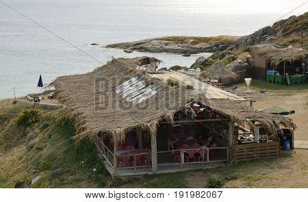 LA TOJA, SPAIN - AUGUST 8, 2016: Rustic beach bar in the Island of La Toja in the province of Pontevedra Galicia Spain.