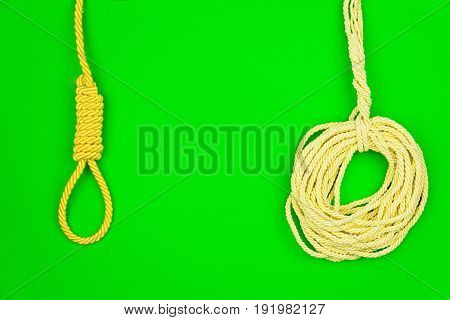 Yellow strings put in circle isolated on green background
