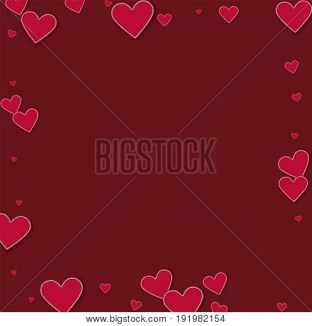 Cutout Red Paper Hearts. Square Scattered Border On Wine Red Background. Vector Illustration.