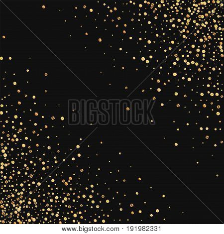 Gold Confetti. Abstract Chaotic Mess On Black Background. Vector Illustration.