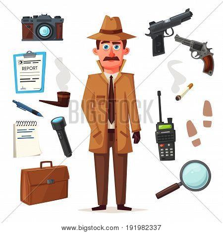 Funny detective character. Cartoon vector illustration. Cheerful inspector in raincoat. Man in hat.