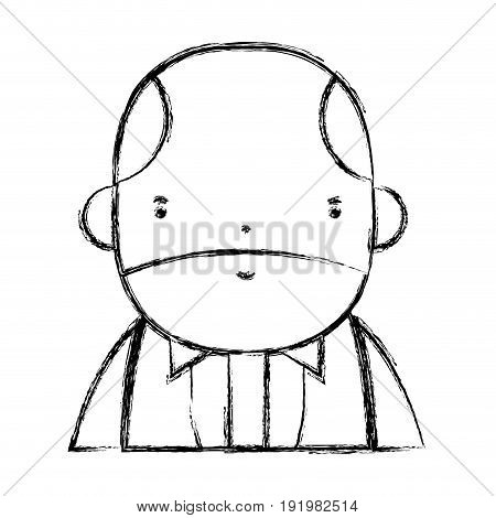 figure nice businessman with elegant clothes and kawaii avatar vector illustration