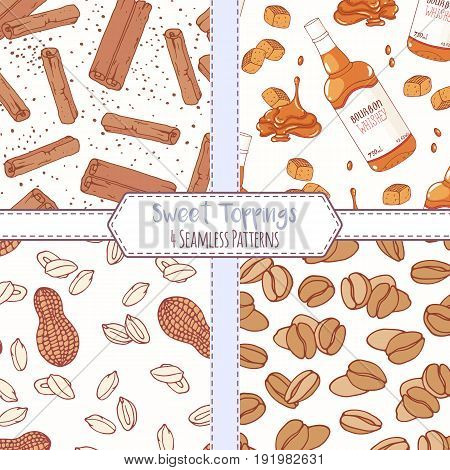 Set of hand drawn seamless patterns with cinnamon, bourbon caramel, peanut and coffee beans. Sweet toppings backgrounds. Vector illustration