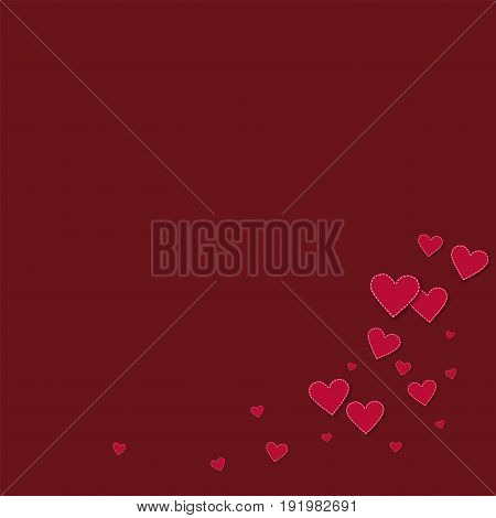 Red Stitched Paper Hearts. Bottom Right Corner On Wine Red Background. Vector Illustration.