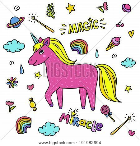 Cute handdrawn unicorn. Pink unicorn and magic stuff. Miracle and magic creature. Vector illustration.