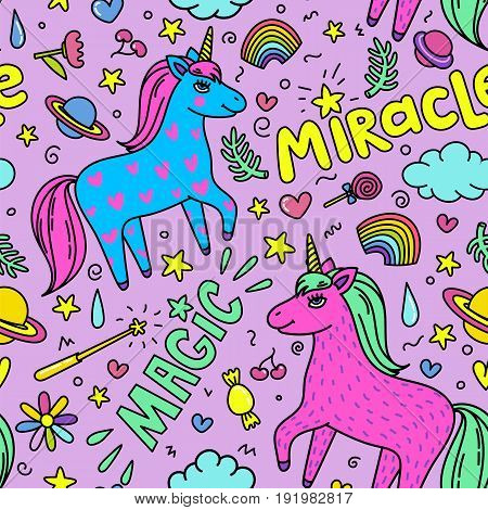 Seamless magic pattern with handdrawn unicorns and magic stuff. Miracle and magic creature. Vector illustration.