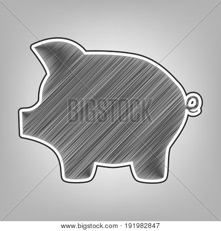 Pig money bank sign. Vector. Pencil sketch imitation. Dark gray scribble icon with dark gray outer contour at gray background.