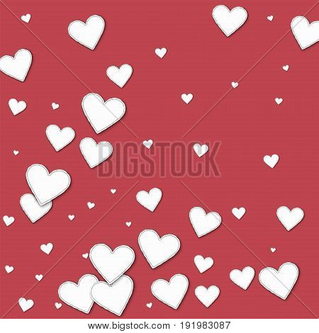 Cutout Paper Hearts. Abstract Pattern On Crimson Background. Vector Illustration.