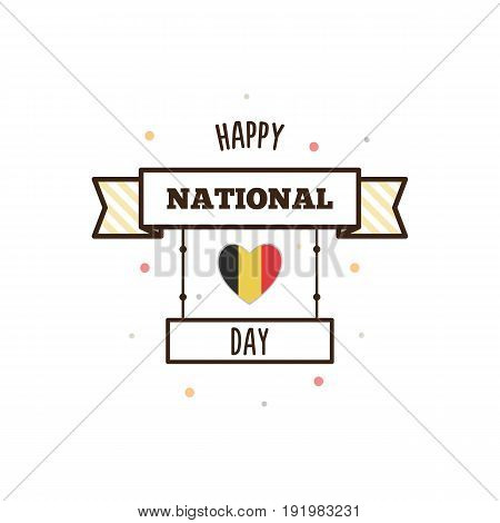 National Day of Belgium. Vector illustration. Flag of Belgium.