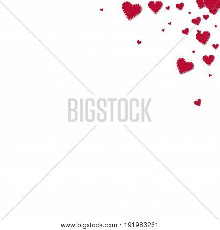 Red Stitched Paper Hearts. Top Right Corner Gradient On White Background. Vector Illustration.