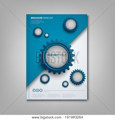 Brochures book or flyer with abstract blue gears template vector eps 10