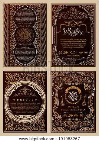 Vintage golden vector set retro cards. Template greeting card wedding invitation. Line calligraphic royal frames. Floral engraving design labels advertising place for text. Flourishes frame background