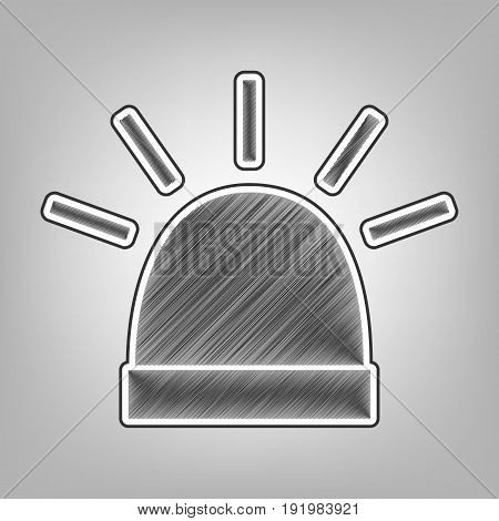 Police single sign. Vector. Pencil sketch imitation. Dark gray scribble icon with dark gray outer contour at gray background.