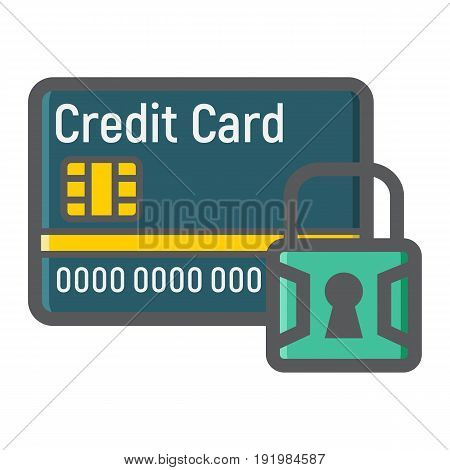 Credit Card with padlock colorful line icon, protection and security, vector graphics, a filled pattern on a white background, eps 10.