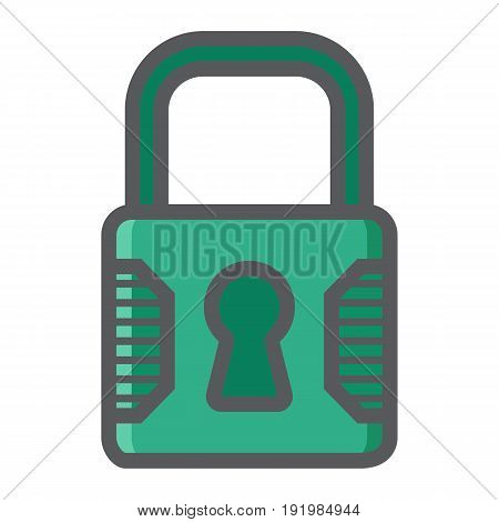 Padlock colorful line icon, security and lock, vector graphics, a filled pattern on a white background, eps 10.