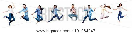 Funky joy diversity social ethnic concept. Collage picture of different nine cheerful people expressing happiness jumping having fun wearing casual clothes isolated on white background