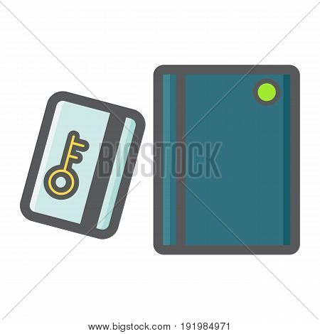 Swipe Card Reader With Keypad colorful line icon, security access and electronic lock, vector graphics a filled pattern on a white background, eps 10.