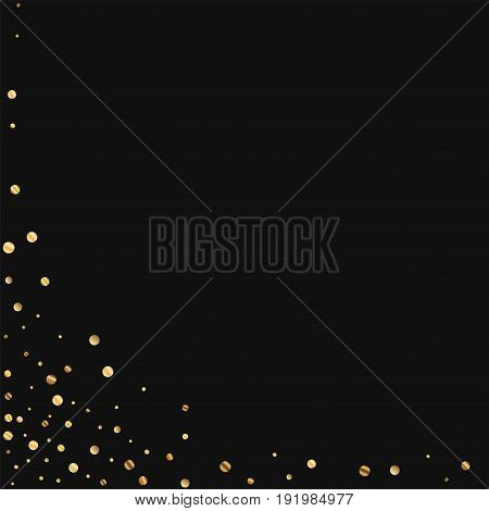 Sparse Gold Confetti. Abstract Left Bottom Corner On Black Background. Vector Illustration.