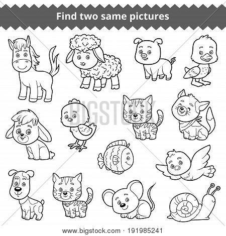 Find two identical pictures, education game for children, vector set of farm animals