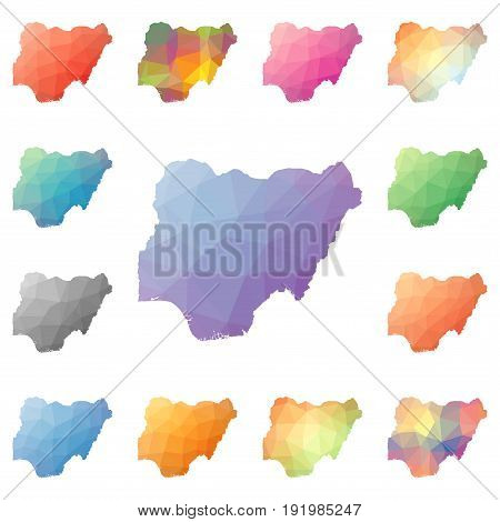 Nigeria Geometric Polygonal, Mosaic Style Maps Collection. Bright Abstract Tessellation, Low Poly St