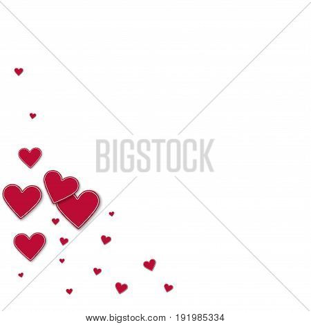 Cutout Red Paper Hearts. Bottom Left Corner On White Background. Vector Illustration.