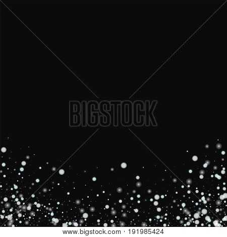 Beautiful Falling Snow. Abstract Bottom With Beautiful Falling Snow On Black Background. Vector Illu