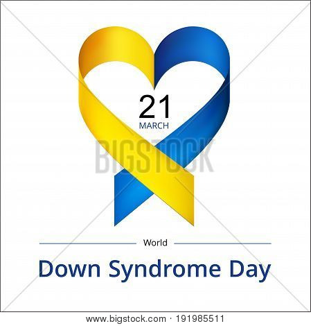 Illustration of World Down Syndrome Day on white background.