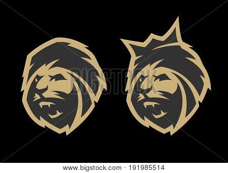The head of a lion, with a crown and without, two options. Monochrome logo on a dark background.