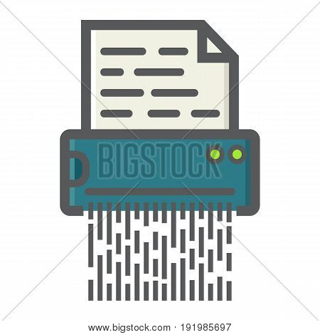 Document shredder colorful line icon, destroy file and confidential, vector graphics, a filled pattern on a white background, eps 10.