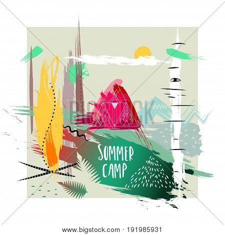 Vector hand-drawn illustration. Square abstract trendy composition of smears on theme of campground in forest. Concept for poster print advertising touristic brochure t-shirt.