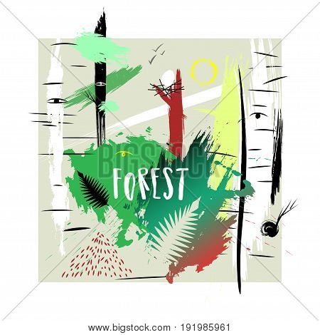 Vector hand-drawn illustration. Square abstract trendy composition of smears on theme of forest. Concept for poster print advertising touristic brochure t-shirt.