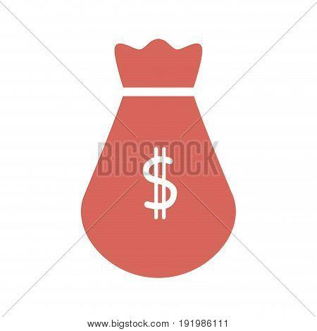 pink bag money cash banking safe vector illustration