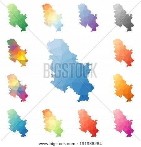 Serbia Geometric Polygonal, Mosaic Style Maps Collection. Bright Abstract Tessellation, Low Poly Sty