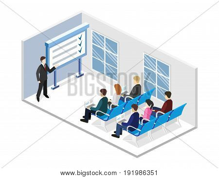 Business Presentation Meeting In An Office Around A Table.