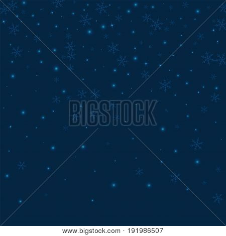 Sparse Glowing Snow. Top Gradient On Deep Blue Background. Vector Illustration.