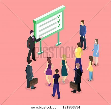 Isometric flat 3D concept vector exhibition or promotion stand. Trade show booth. The businessman shows the executed work plan