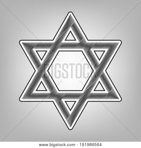 Shield Magen David Star. Symbol of Israel. Vector. Pencil sketch imitation. Dark gray scribble icon with dark gray outer contour at gray background.