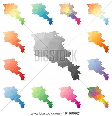 Armenia Geometric Polygonal, Mosaic Style Maps Collection. Bright Abstract Tessellation, Low Poly St