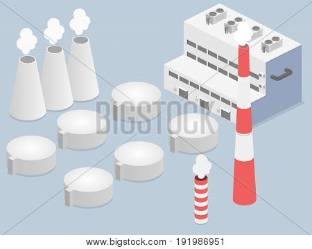 isometric facade of building. Flat 3D illustration of Factory