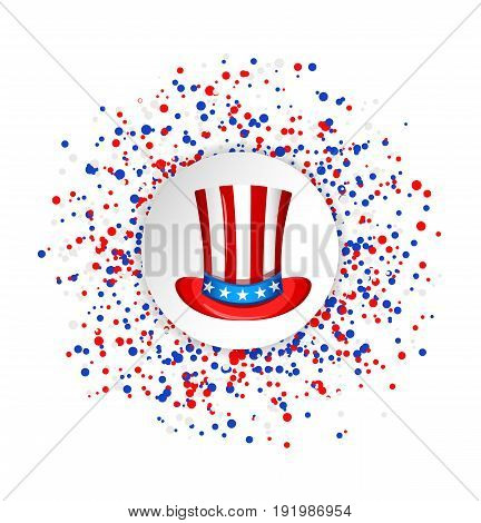 Uncle Sam hat for the 4th of July with circle made of blue red and white dots. USA Independence day greeting card. Patriotic vector illustration.