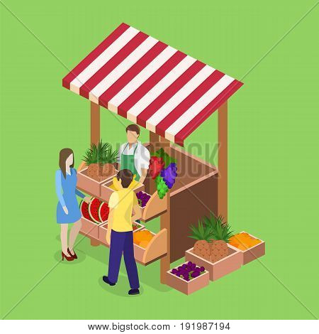 Isometric flat 3D isolated concept vector fruit stand. Produce shop keeper. Fruit and vegetables retail business owner working in his own store.