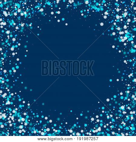 Beautiful Falling Snow. Bordered Frame With Beautiful Falling Snow On Deep Blue Background. Vector I